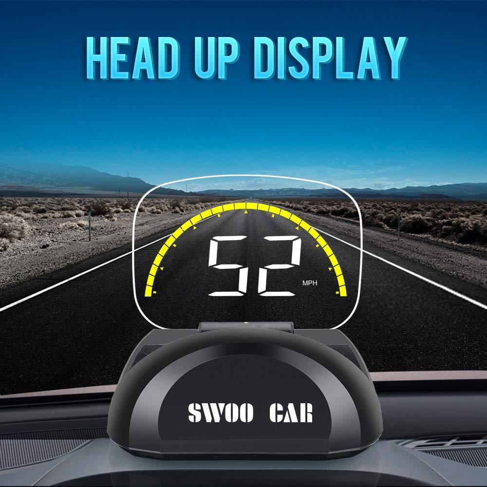 2.6 \'HUD GPS Head UP Display Digital LCD-Messgerät 9V-16V Fahrgeschwindigkeit Spannung Einzelentfernung Fahrstrecke Gesamtfahrzeit Fahrgeschwindigkeitsalarm Umschaltung zwischen Kilometer und Meilen. Swonuk