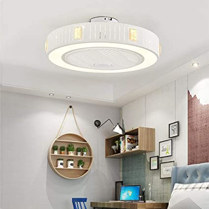 Led Ceiling Fan With Lights And Fan Remote Control Modern Round White Dimmable 36 W 3 Timing 3 Speeds Quiet Fan For Bedroom Living Room Lamp 55 X 21 Cm Medium Amazon De Kuche Haushalt