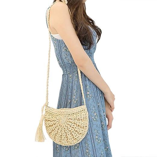 Straw Crossbody Bag Women Weave Shoulder Bag Round Summer Beach Purse and  Handbags (Beige) 4a7fa5bccf