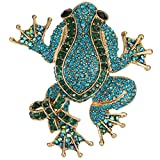 EVER FAITH Crystal Art Deco Adorable Frog with Bowknot Animal Brooch Blue w/Green Gold-Tone