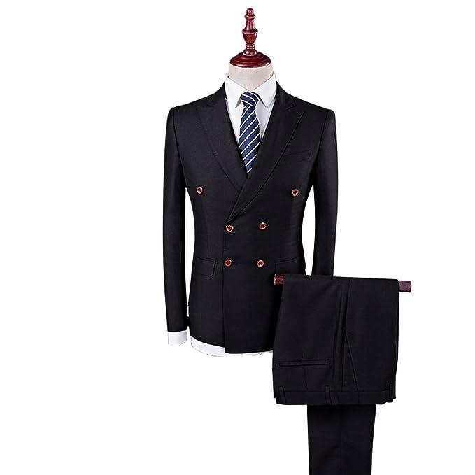 f03874ef80 Trajes para Hombres Botón de Doble Fila Slim Fit 3 Piezas de Esmoquin  (Chaqueta + Pantalones + Chaleco) para la Boda Vestido Casual de Negocios   Amazon.es  ...