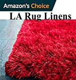 Shimmer Shag Red Solid Plain Modern Luster Ultra Thick Soft Plush Area Rug 8 x 10 Contemporary Retro Polyester Textured Two Length 2″ Pile Yarn Easy Clean Stain Fade Resistant ( Whisper Epic Red ) For Sale