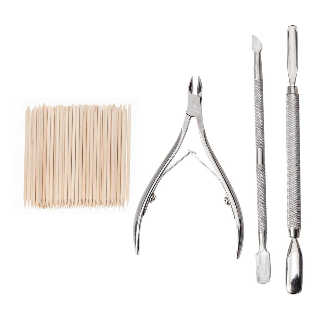 Amazing Value Set of Professional Manicure Cuticles Pushers / Treatments Tools With Pack of 3 Metal Tools Including Pushers, Nipper / Trimmer and 100 Wooden One Time Cuticle Pushers VAGA
