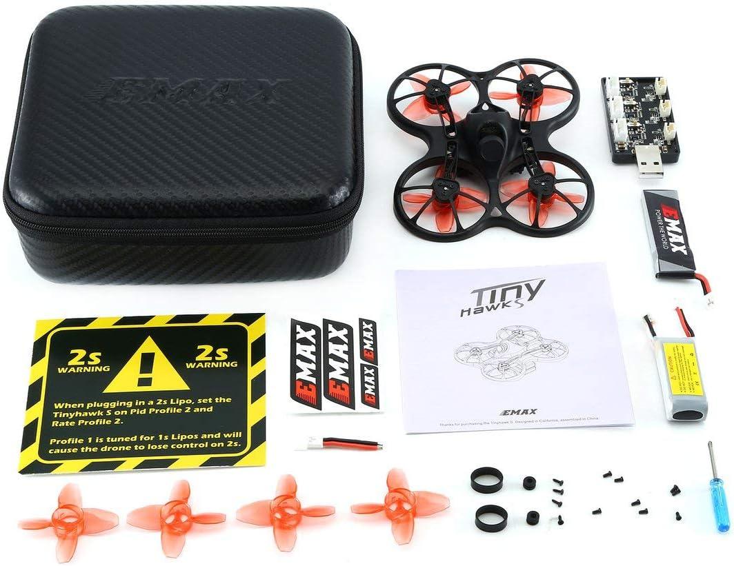 Kaemma EMAX Tinyhawk S Mini Interior FPV Racing Drone Drone sin escobillas 37CH 20mW 4 en 1 5A F4 Controlador de Vuelo 600TVL Cámara RC Drone Negro: Amazon.es: Hogar