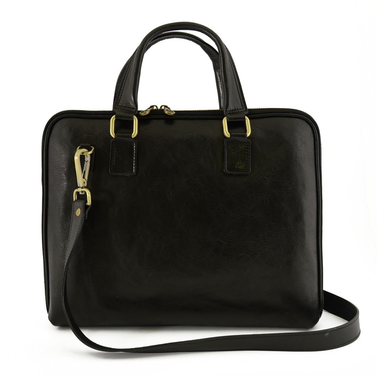 Made In Italy Genuine Leather Briefcase With Zip Closure And Side Bellows Color Black - Business Bag   B01BOGNMZI