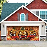 Outdoor Christmas Holiday Garage Door Banner Cover Mural Décoration 7'x16' - Three Scary Pumpkins Outdoor Halloween Garage Door Banner Décor Sign 7'x16'