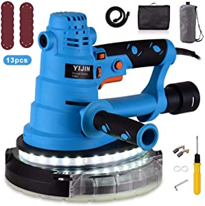 Drywall Sander Vacuum, YIJIN Automatic Vacuum System, Detachable Base, Vacuum Automatic Dust Absorption, 13 Sanding Discs, Variable Speed 770-2150RPM, Double-Layer LED, with Carry Bag