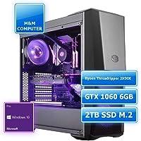 M&M Computer HighEnd RGB Wasserkühlung, AMD Ryzen Threadripper 2950X 16-Kerne, GTX1060 6GB Gaming Grafikkarte, 2TB SSD M.2 (NVMe), 32GB DDR4 RAM, Windows 10 Pro