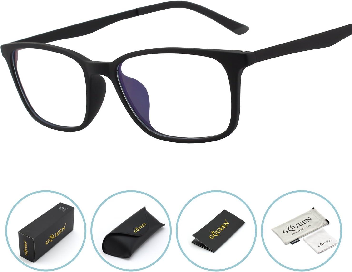 GQUEEN Gafas Protectoras con Bloqueo de luz Azul, Fatiga Ocular antideslumbrante con Lente Transparente con Marco Mate TR90, GQ61