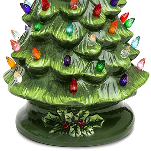 Best Choice Products 15in Ceramic Pre Lit Hand Painted Tabletop Christmas Tree Holiday Decor With 64 Multicolored Lights 2 Star Toppers Green