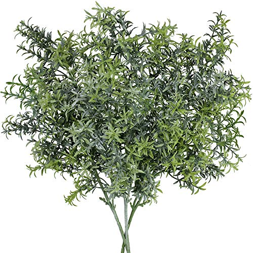 SUPLA 3 Pack Artificial Rosemary Plant Greenery Stems Fake Rosemary Greenery Leaves Bushes Rosemary Sprigs Evergreen Shrubs Spray 25.3