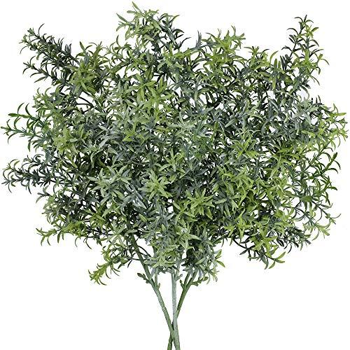 (SUPLA 3 Pack Artificial Rosemary Plant Greenery Stems Fake Rosemary Greenery Leaves Bushes Rosemary Sprigs Evergreen Shrubs Spray 25.3