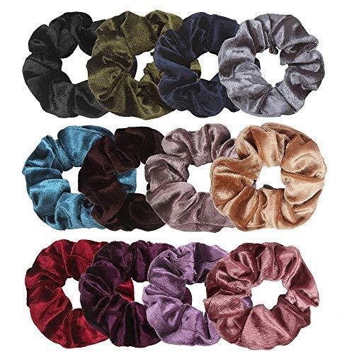 ANBALA High Premium Velvet Scrunchies, 12 Pack Soft Hair Scrunchy Bobbles Elastic Hair Bands Ties Donut Hair Accessories for Women