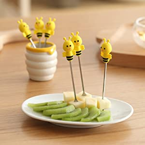 Fruit Fork, Cute Set of 6 Fruit Forks with Holder Stainless Steel Food Pick Forks for Kids Home (Bee)