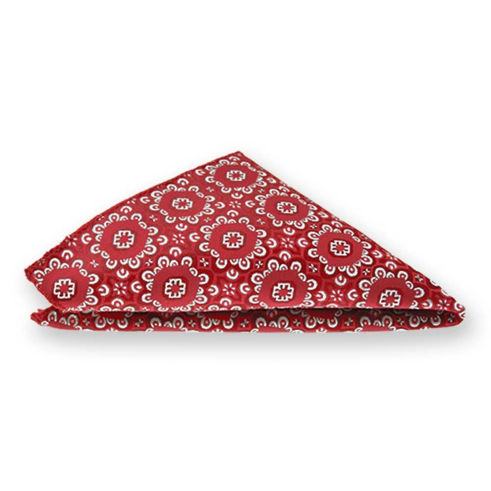 TieMart Red Emma Floral Pattern Pocket Square
