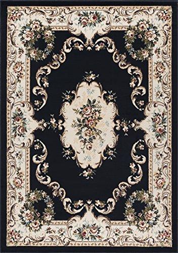 Angeline Traditional Floral Black Rectangle Area Rug, 5' x 7' (Floral Vines Rectangle Rug)