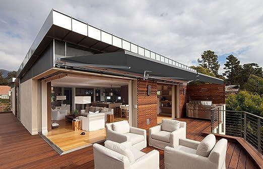 Toldo motorizado y manual para terraza – Gris piedra metálico ...