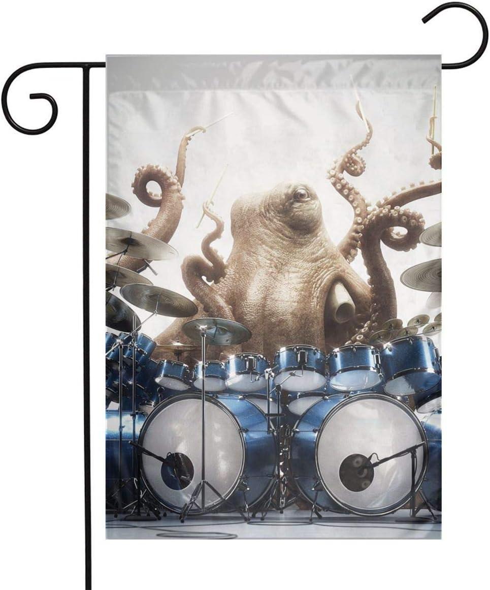 Pooizsdzzz Octopus Play Drum Festival Garden Flag Front Door Flag Decorative Home Outdoor Flag 1218 Inch