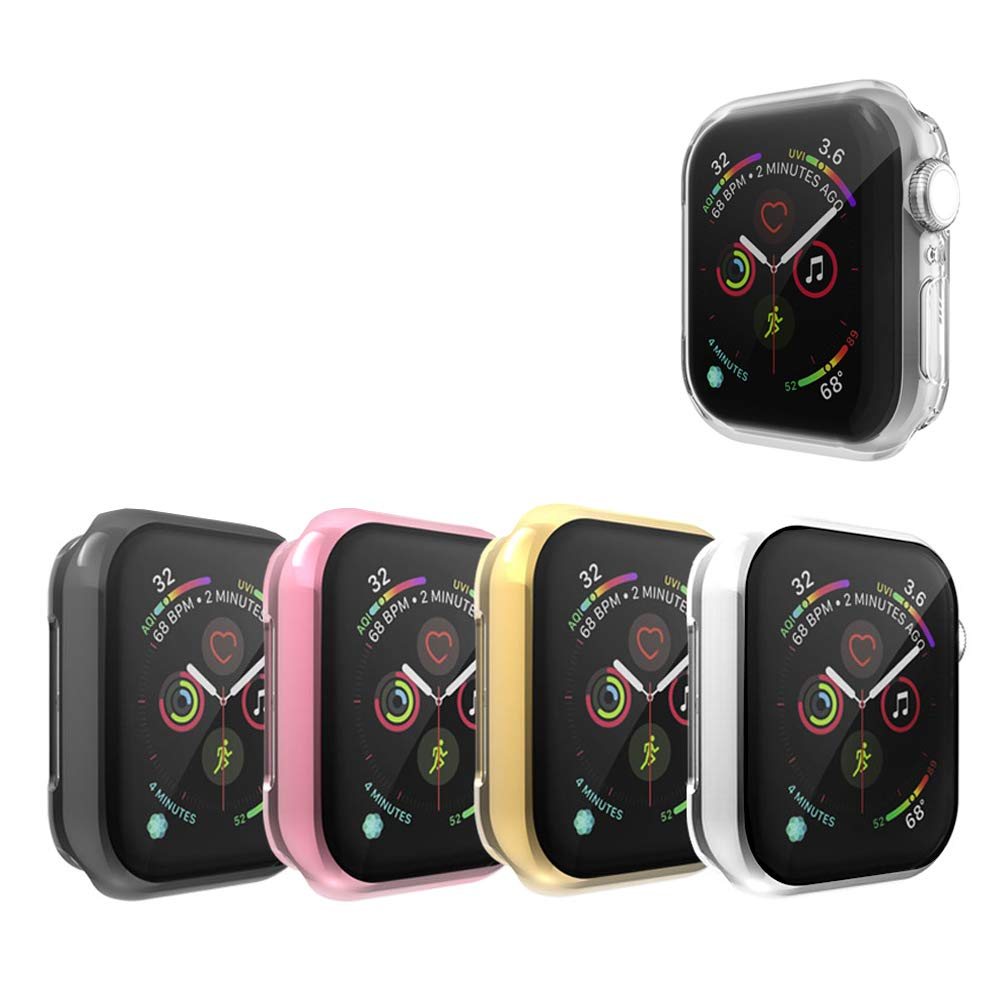 Leotop Compatible with Apple Watch Case 44mm 40mm, Soft Flexible TPU Plated Protector Bumper Shiny Cover Lightweight Thin Guard Shockproof Frame Compatible for iWatch Series 4 (5 Color Pack, 40mm)