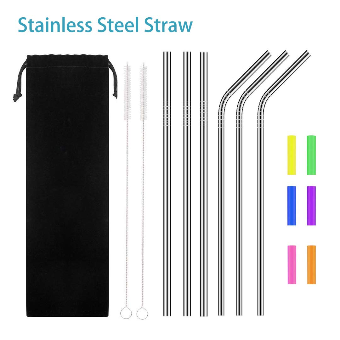 Stainless Steel Straw,Metal Straw,Extra Long Smoothie Reusable Metal Drinking Straws for Party,Mugs,Shakes,Tumblers,Cold Beverage,3 Straight Straw,3 Bent Straw,2 Cleaning Brushes,6 Silicone Tips