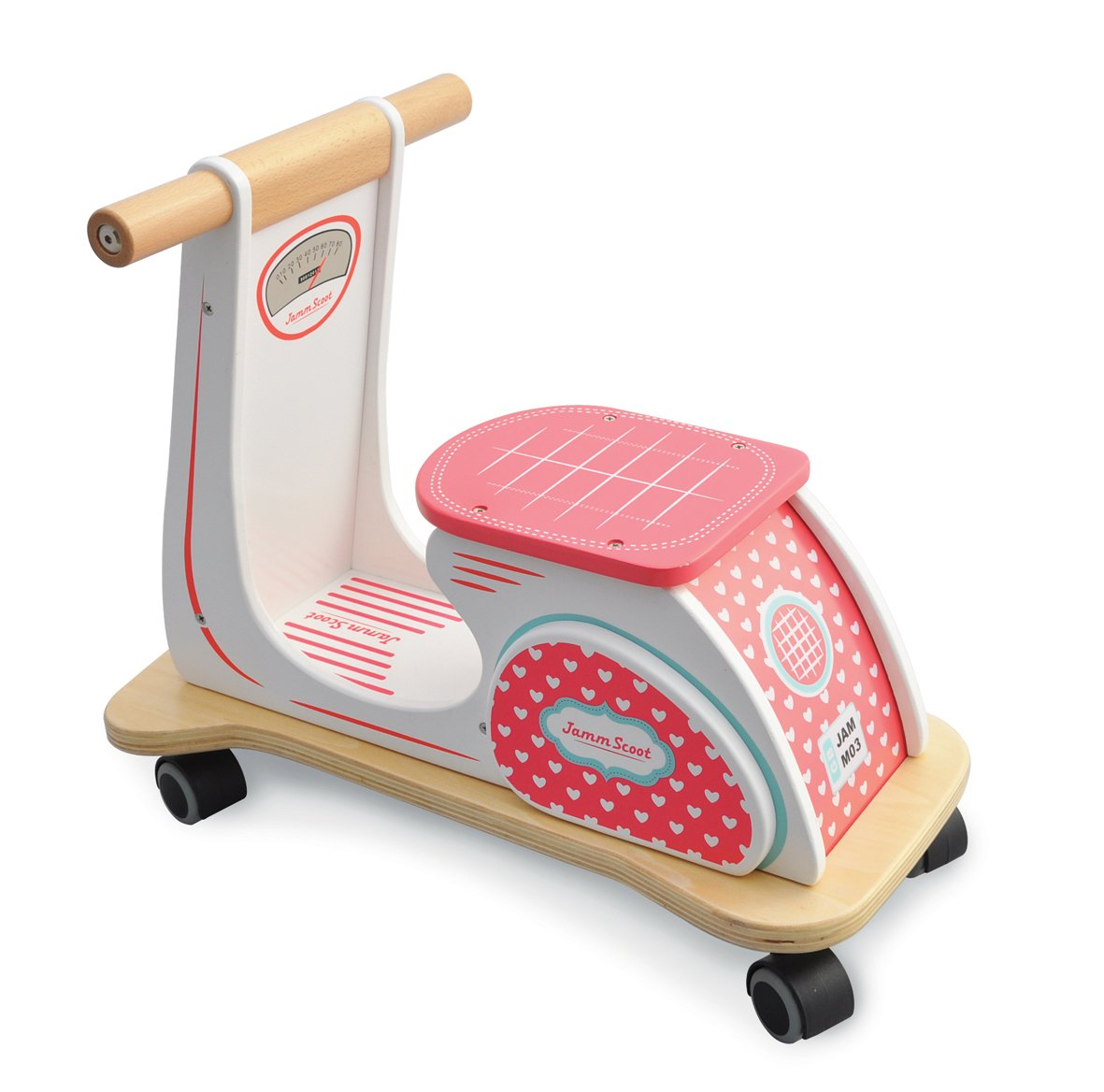 Indigo Jamm Kids Wooden Retro Scoot Ride on Scooter Racer Love Heart Fun Toy