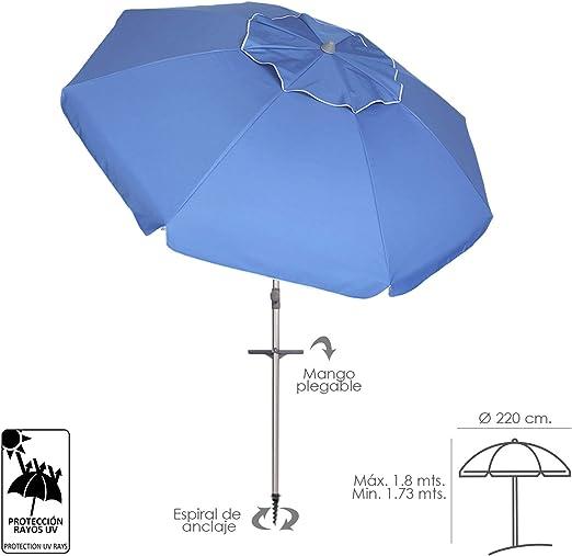 PAPILLON 8042665 Sombrilla Playa Aluminio Ø 220 cm. con Mangos y Pincho/Espiral Protección UV: Amazon.es: Jardín