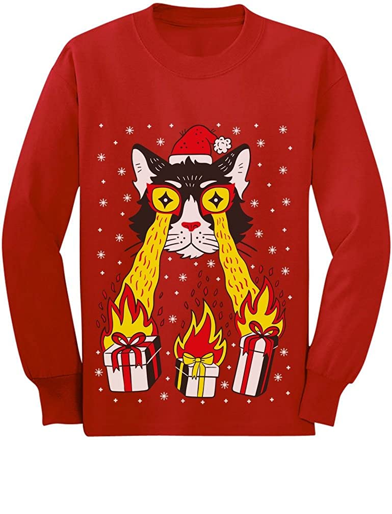 Holidays Funny Laser Eyes Xmas Cat Ugly Christmas Youth Kids Long Sleeve T-Shirt GMPlha0gCm