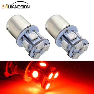 Ruiandsion 2pcs 1156 7506 BA15S 6V Super Bright 5050 8SMD Chipset LED Replacement Bulb for Reverse Light Turn Signal Light Tail Light,Non-polarity (Red): Automotive