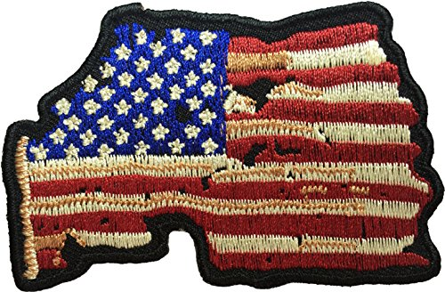 Panel Vintage Iron (Map USA American Flag Vintage Shape Sew Iron on Applique Embroidered Emblem Badge Patch By Ranger Return (IRON-USA-MAP-VINT))