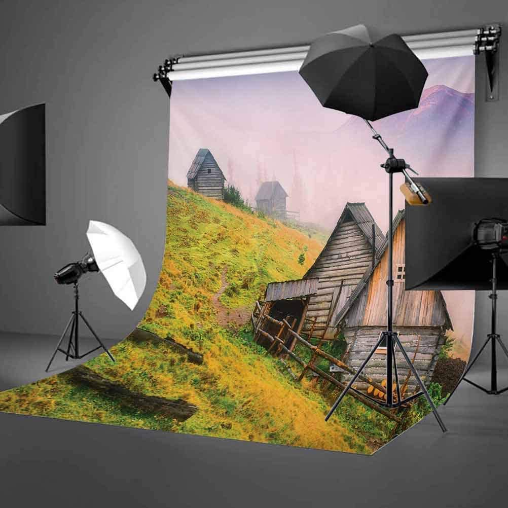 Rustic 10x15 FT Backdrop Photographers,Nature Wooden Houses in A Carpathian Mountains Ukraine Early Misty Morning Picture Background for Child Baby Shower Photo Vinyl Studio Prop Photobooth Photoshoot