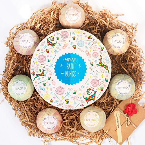 Bath Bombs Gift Set Bath Balls Kit for Women, Men, for Kids,Girls, Mom, Wife,Valentine's Day or Birthdays. Natural Organic Essential Oil Relax Spa Set 3.5 OZ (7 Different Scents)