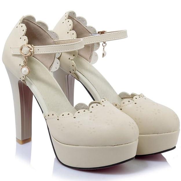 Coolcept Zapatos Moda Al Tobillo Dedo del Pie Cerrado Tacon Alto Bombas Zapato Sandalias Dulce Lace Floral Plataforma Mujer (34 EU, Beige)