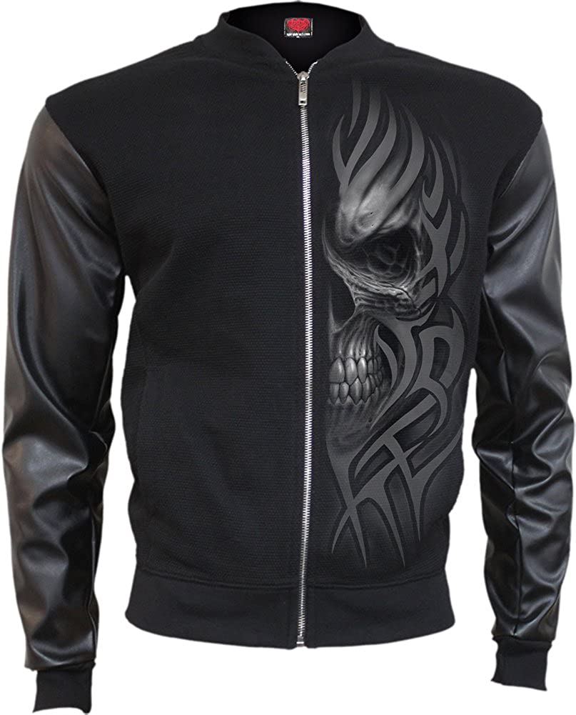 Death Rage Spiral Bomber Jacket with PU Leather Sleeves