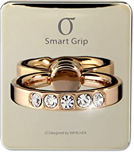 Cell Phone Ring Holder & Grip with Luxury Oktant Crystal Universal Kickstand Compatible with All Major Smartphones | Charlotte (Light Gold - Crystal)