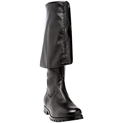 68d260154c1 Summitfashions Mens Cuff Pirate Boots Black Leather 1 1 2 Inch Heel Costume Boots  Mens