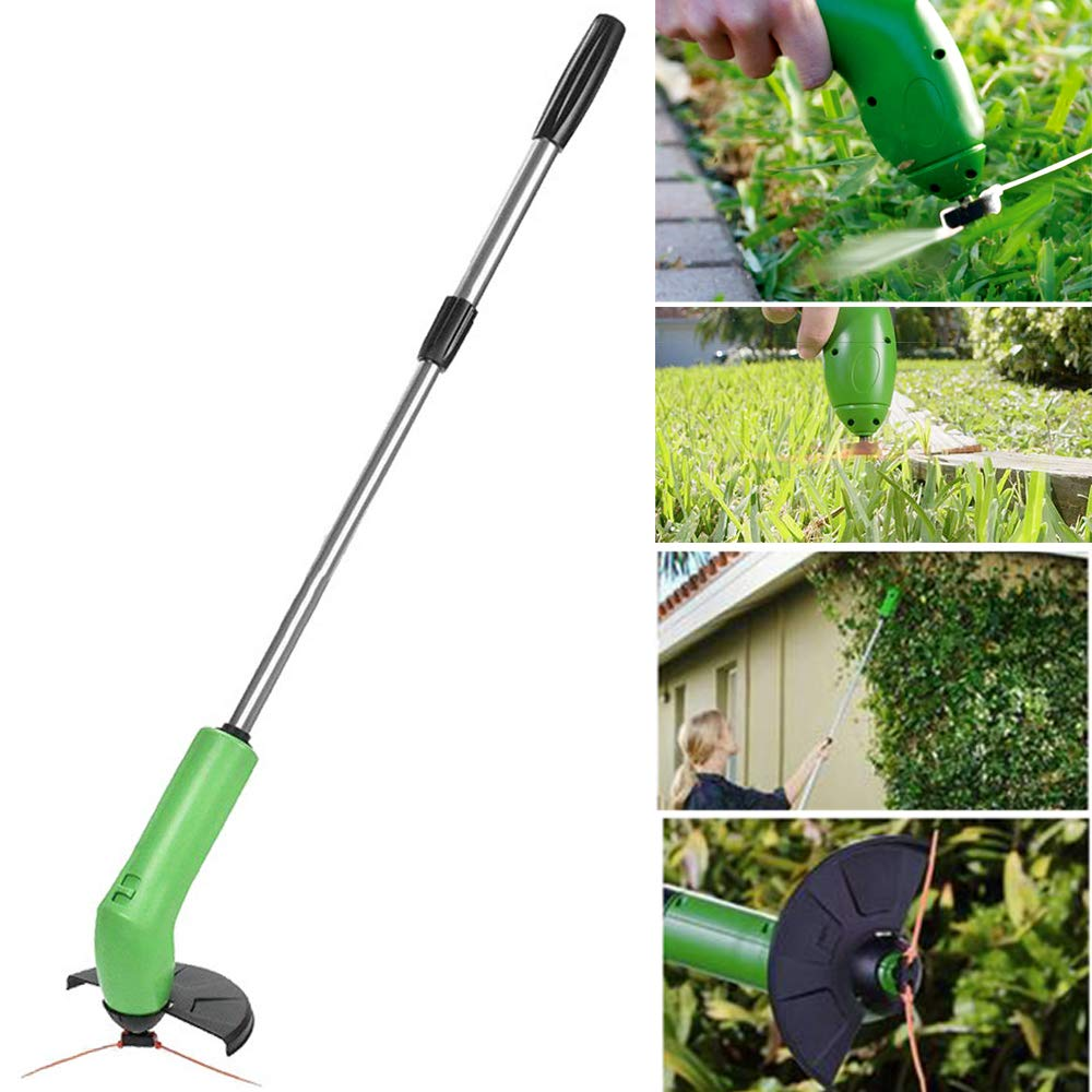 HWJF Cordless Trimmer Portable Mini Electric Weeder and Edger Retractable with Protective Cover