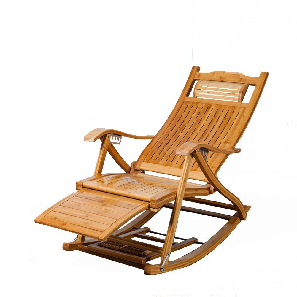 L&J ロッキングチェア,純木のテラス ブラブラ椅子古い男 Chaise のラウンジの椅子ポータブル,竹,荷重 150 Kg,安定した耐久性のあるリクライニングチェア パティオ  D B07C9GFQJ5