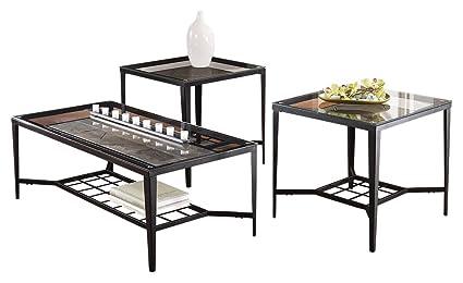 Amazon.com: Ashley Furniture Signature Design - Calder Glass Top ...