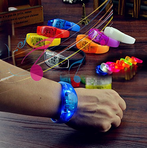 SWITCH INNOVATION LED Bracelets 10-piece Fun Pack, Adult Size,Sound Activated Light-Up Wristband, Concert Fun, Reacts to Noise/Music/Beat with LED Strobe/Flash, Assorted Colors, Replaceable (Led Bracelet Concert)