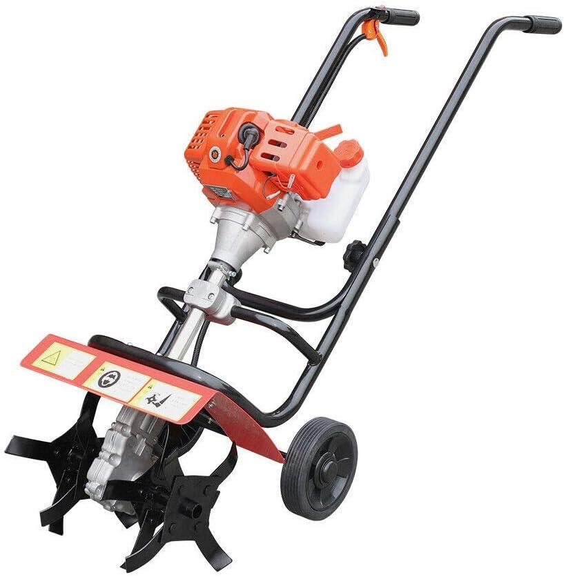 CNCEST Mini Cultivator 52cc 2 Stroke Gas Powered Cultivator Petrol Tiller Garden Lawn Tool Mini Tiller Garden Cultivator