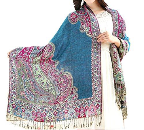 Km Women Autumn Winter Long Ethnic Jacquard Fringed Scarf/shawl - Scarf Fringed Winter