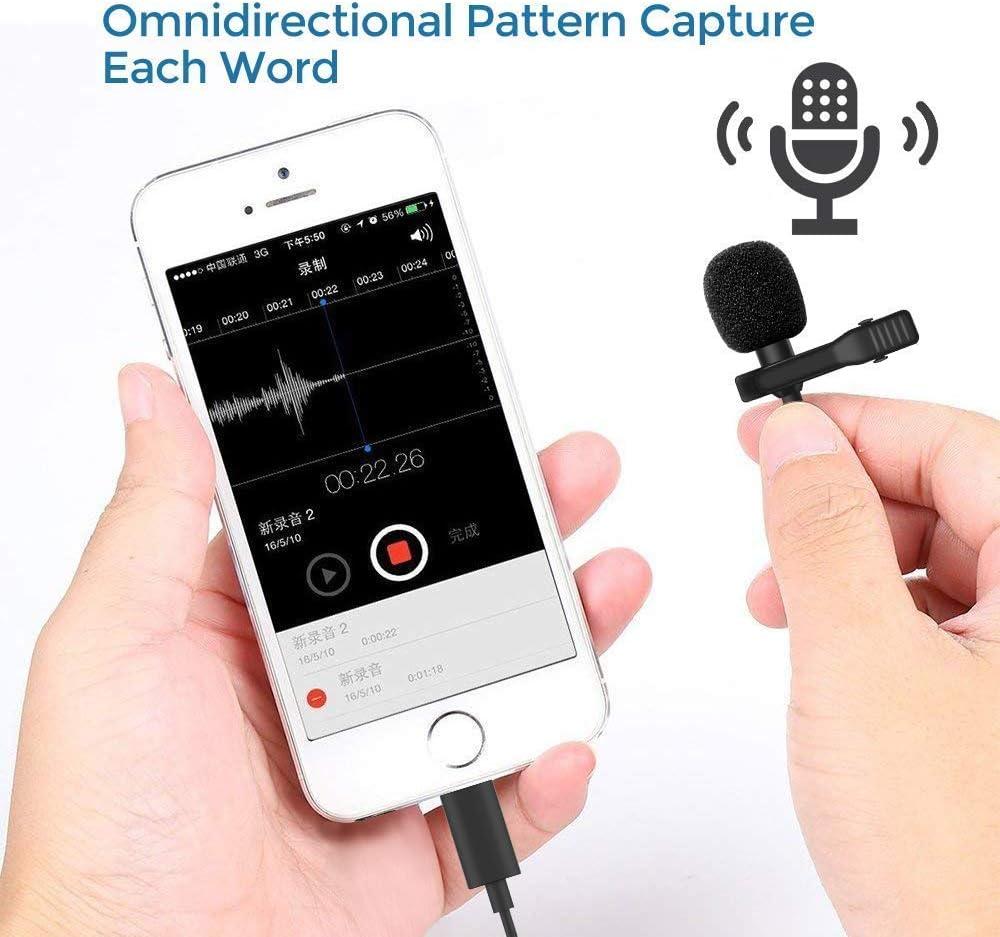 Microphone Professional for iPhone Grade Lavalier Lapel Omnidirectional Phone Audio Video Recording Lavalier Condenser Microphone for iPhone X Xr Xs max 8 8plus 7 7plus 6 6s 6p 11plus iPad(3m)