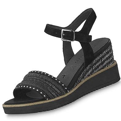 Tamaris Damen Keil Sandaletten Schwarz, Schuhgröße:EUR 39