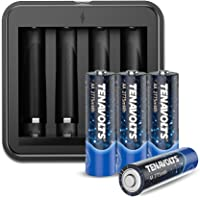 TENAVOLTS Rechargeable AA Battery Charger with 4 Counts Lithium 2775 mWh AA Rechargeable… photo