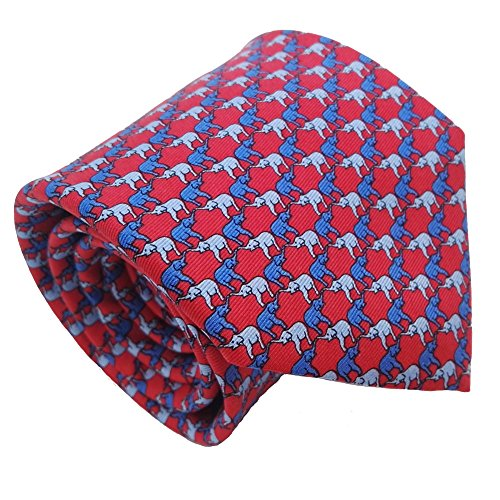 Qobod novelty ties Men's 100% Silk Tie Necktie Woven JACQUARD Neck Ties gift box RED BLUE SKY ELEPHANT novelty