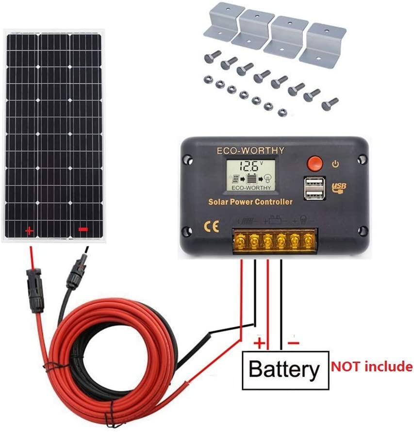 Monocrystalline Solar Panel Complete Off-Grid RV Boat Kit with LCD Charge Controller ECO-WORTHY 200 Watt 2pcs 100 Watt Solar Cable Mounting Brackets