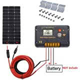 ECO-WORTHY 100 Watt Monocrystalline Solar Panel Off-Grid RV Boat Kit:100 Watt Solar Panel with 20A LCD Display Charge Controller