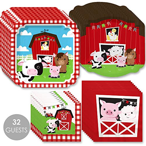Farm Animals - Barnyard Baby Shower or Birthday Party Tableware Plates and Napkins - Bundle for ()