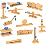 ETA hand2mind Wood Simple Machine Collection with Inclined Plane and Cart, Double Pulley, Lever (Set of 12)