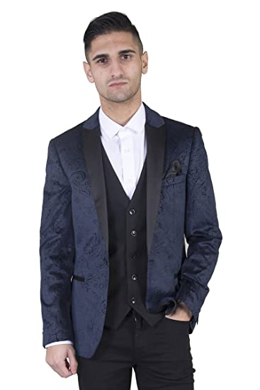 87aaf9991 Marc Darcy Mens Velvet Navy Tux Lapel Jacquard Blazer with Indented ...